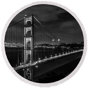 Golden Gate Evening- Mono Round Beach Towel