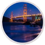 Golden Gate Glow Round Beach Towel