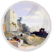 Golden Gate Of The Temple Round Beach Towel