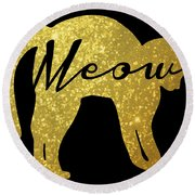 Golden Glitter Cat - Meow Round Beach Towel by Pati Photography