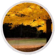 Golden Glow Of Autumn Fall Colors Round Beach Towel by Jeff Folger
