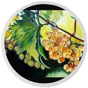 Round Beach Towel featuring the painting Golden Grapes by Julie Brugh Riffey