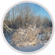 Golden Grass In Winter Sun With Snow Round Beach Towel