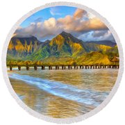 Golden Hanalei Morning Round Beach Towel