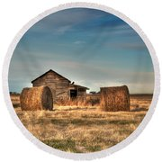 Golden Hay Round Beach Towel