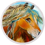Round Beach Towel featuring the painting Golden Horse by Jenny Lee