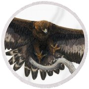 Round Beach Towel featuring the painting Golden Landing by Pat Erickson