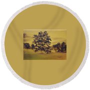 Round Beach Towel featuring the painting Golden Landscape by Judith Rhue