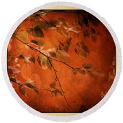 Round Beach Towel featuring the digital art Golden Leaves-1 by Nina Bradica