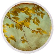 Round Beach Towel featuring the digital art Golden Leaves-2 by Nina Bradica
