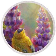 Golden Light 1 Wilsons Warbler And Lupine Round Beach Towel
