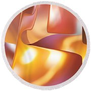 Golden Light Round Beach Towel by rd Erickson
