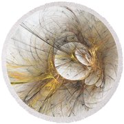 Golden Memories Round Beach Towel