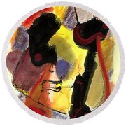 Round Beach Towel featuring the painting Golden Moon 2 by Stephen Lucas