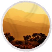 Golden Mountain Light Round Beach Towel