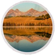 Golden Mountains  Reflection Round Beach Towel by Robert Bales