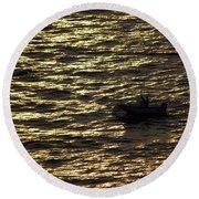 Round Beach Towel featuring the photograph Golden Ocean by Miroslava Jurcik