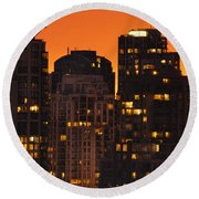 Round Beach Towel featuring the photograph Golden Orange Cityscape Dccc by Amyn Nasser