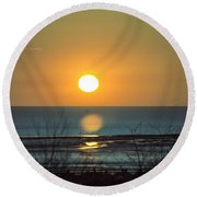 Golden Orb Round Beach Towel by Spikey Mouse Photography