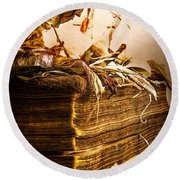 Golden Pages Falling Flowers Round Beach Towel