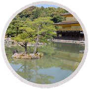Golden Pavilion Round Beach Towel