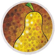 Golden Pear Round Beach Towel by Sharon Cummings