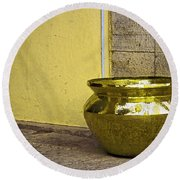 Golden Pot Round Beach Towel by Prakash Ghai