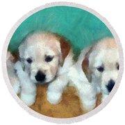 Golden Puppies Round Beach Towel by Michelle Calkins