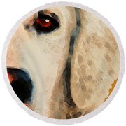Round Beach Towel featuring the painting Golden Retriever Half Face By Sharon Cummings by Sharon Cummings