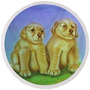 Round Beach Towel featuring the painting Golden Retriever by Thomas J Herring