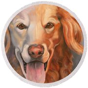 Golden Retriever Till There Was You Round Beach Towel