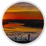 Golden River Round Beach Towel