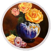 Round Beach Towel featuring the painting Golden Roses by Jenny Lee
