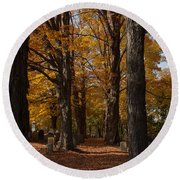 Golden Rows Of Maples Guide The Way Round Beach Towel by Jeff Folger