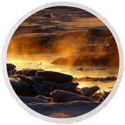 Golden Sea Smoke At Sunrise Round Beach Towel