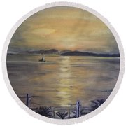 Golden Sea View Round Beach Towel by Teresa White
