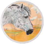 Round Beach Towel featuring the painting Golden Sky by Jeanne Fischer