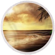 Golden Sky Over Tropical Beach Round Beach Towel