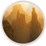 Golden Spires Round Beach Towel