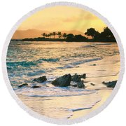 Golden Sunrise On Sapphire Beach Round Beach Towel