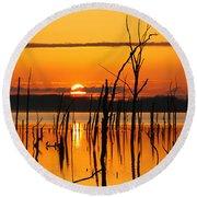 Golden Sunrise Round Beach Towel by Roger Becker