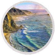 Golden Sunset At Big Sur Round Beach Towel