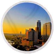 Golden Sunset In Austin Texas Round Beach Towel