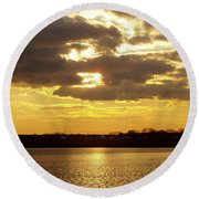 Golden Sunset Round Beach Towel by John Telfer