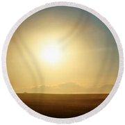 Round Beach Towel featuring the photograph Golden Sunset by Judy Palkimas