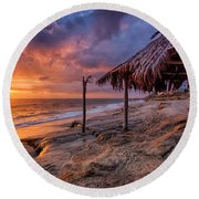 Golden Sunset The Surf Shack Round Beach Towel