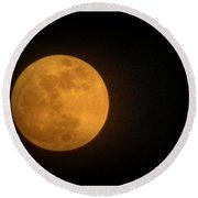 Golden Super Moon Round Beach Towel by Kathy Barney