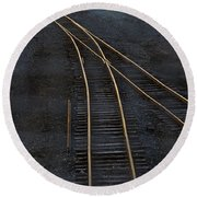 Golden Tracks Round Beach Towel by Margie Hurwich
