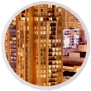 Round Beach Towel featuring the photograph Golden Vancouver Cityscape Cdxii By Amyn Nasser by Amyn Nasser