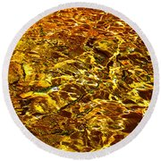 Golden Water Abstract. Feng Shui Round Beach Towel